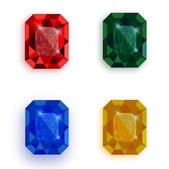 Set of multicolored gemstones.