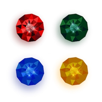 Set of multicolored gemstones.