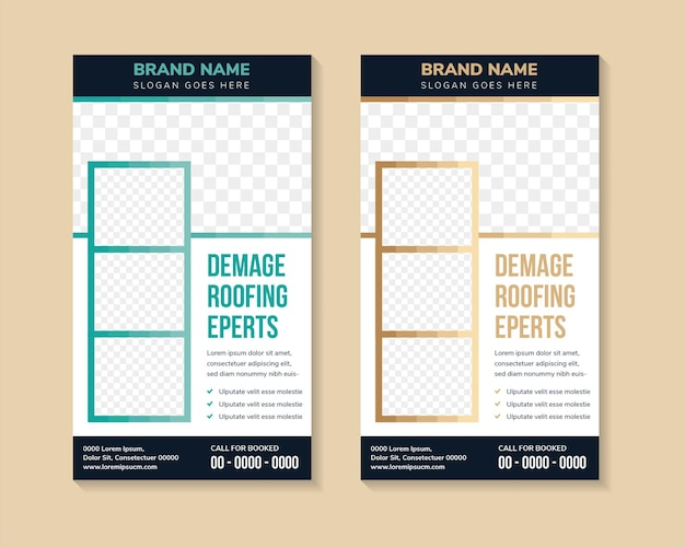 Set of multicolored green and brown roll up business banner design template vector