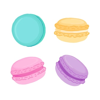 Set of multicolored macaroons