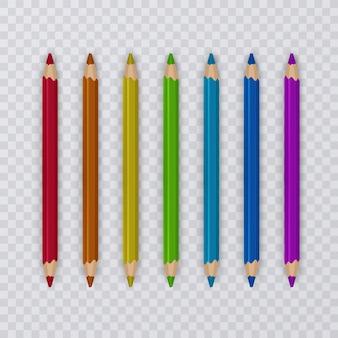 Set of multicolored pencils on transparent
