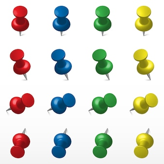 Set of multicolored push office pin