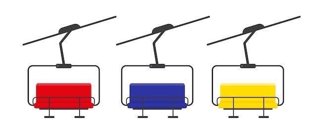 Set of multicolored skilifts isolated on white background