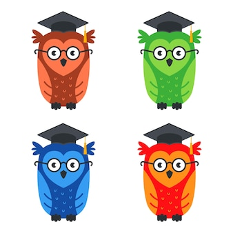 Set of multicolored smart owls with glasses. flat illustration isolated on white.