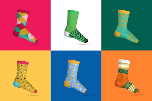 Set of multicolored socks for woman on different square