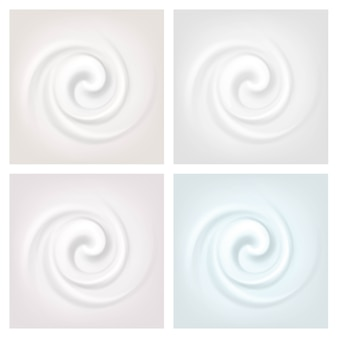 Set of multicolored swirl cream texture backgrounds