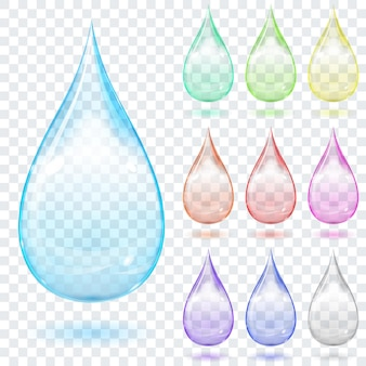 Set of multicolored transparent drops with shadows on a plaid background