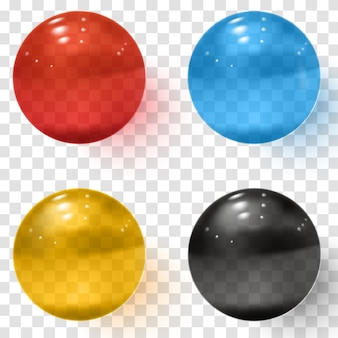 Set of multicolored transparent glass spheres with shadows