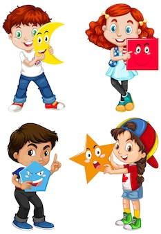 Set of multicultural children holding geometric shapes
