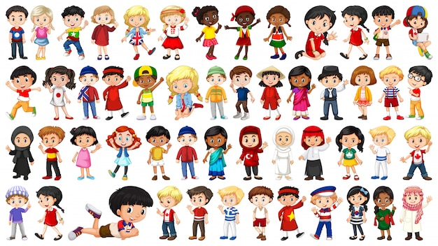 Set of multicultural kids character