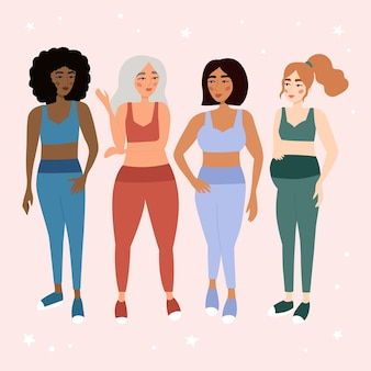 Set of multicultural women in sportswear