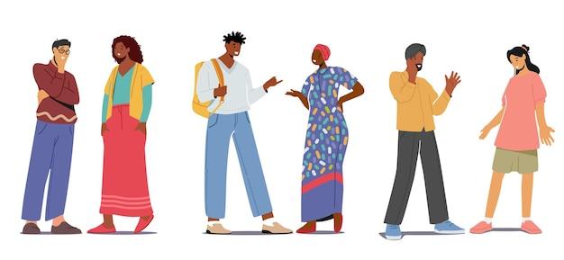 多民族のカップルが話したり話したりするように設定します。チャットの人々、多民族の男性と女性の会議。白い背景で隔離の男性と女性のキャラクター間の対話。漫画のベクトル図