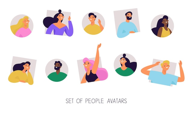 Set of multiethnic diverse people avatars.