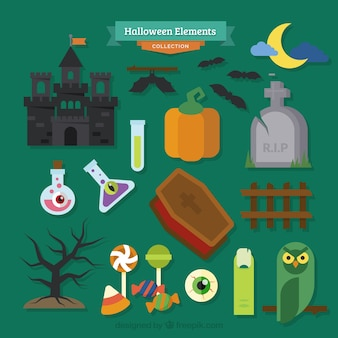 Set of multiple elements for halloween design on a green background