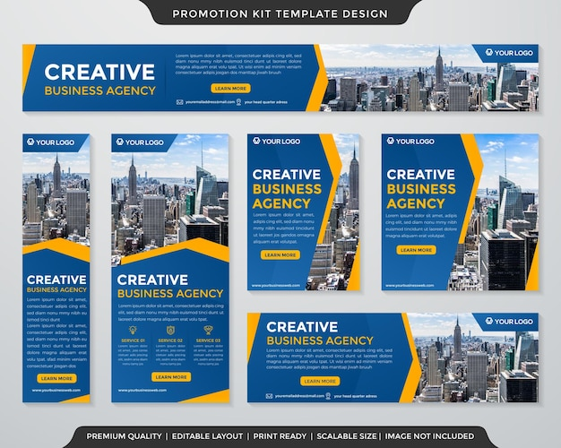 Set of multipurpose business promotion kit template with abstract style use for digital ads