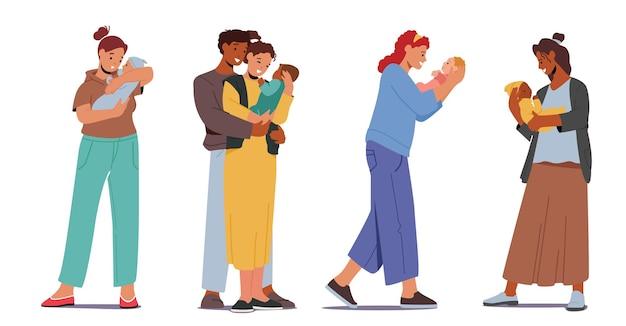 Установите многорасовых любящих родителей, мать и отец с младенцем. персонажи кавказских и африканских семей держат новорожденного ребенка