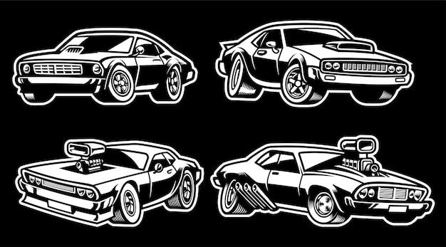 Set of muscle car