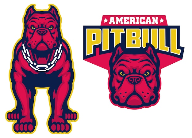 Set of muscle pitbull dog in sport mascot style