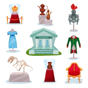 Set of museum exhibits. golden crown, medieval knights armor, ancient jugs, dinosaur skeleton, clothes and luxury chair