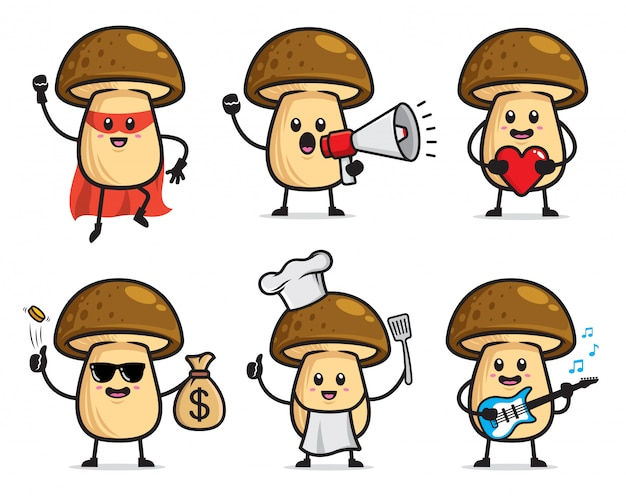 Set of mushroom character