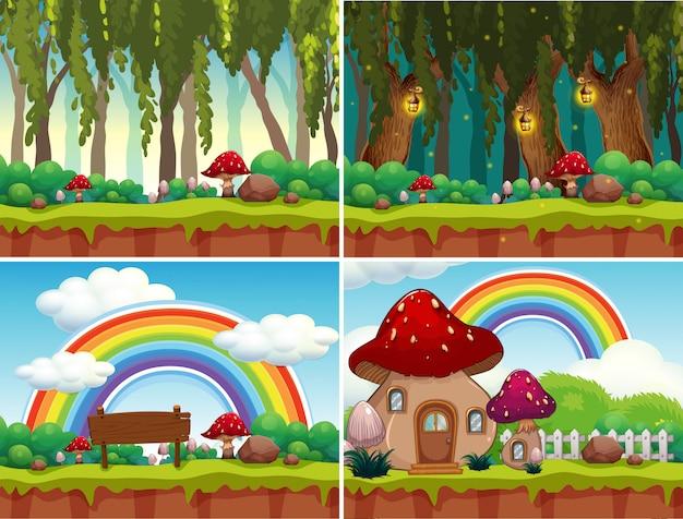 A set of mushroom landscape