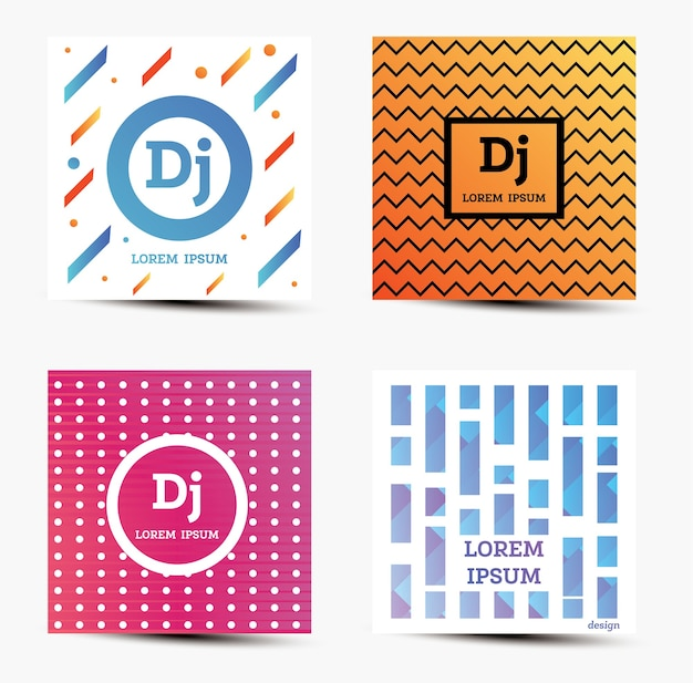 Set of music backgrounds with modern geometric design.