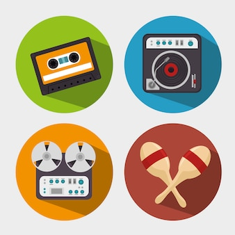 Set the music industry devices isolated icon