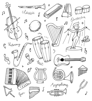 Set of music instrument doodle