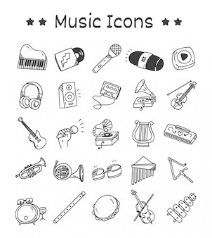 Set of music instrument icons in doodle style