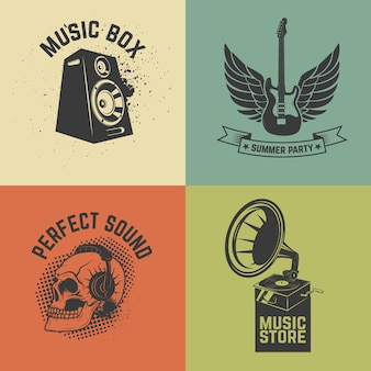 Set of music  labels  on colorful background.  illustration.