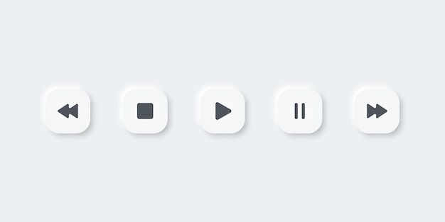Set of music media icons. play, pause, stop