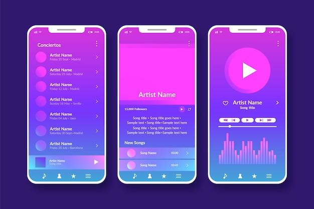 Set di interfaccia dell'app per lettore musicale