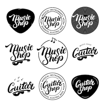 Set of music shop and guitar shop hand written lettering logos, labels, badges, emblems.