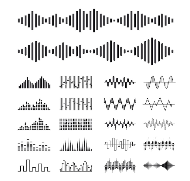 Set of music sound waves, audio digital equalizer technology isolated design elements, console panel, pulse musical beats, voice recognition, frequency monochrome symbols. vector illustration, icons