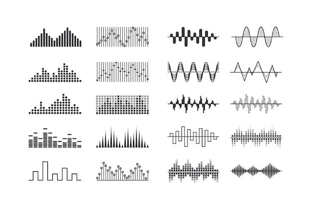Set of music sound waves, radio frequency tracks and vibration impulse signs. audio digital equalizer technology isolated design elements, console panel, pulse musical beats. vector illustration