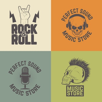 Set of music store labels  on colorful background