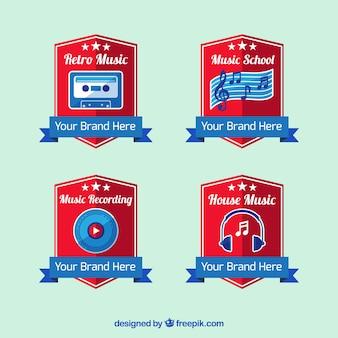 Set of music studio shields logo