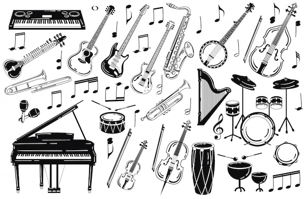 A set of musical instruments. collection of stylized musical instruments.