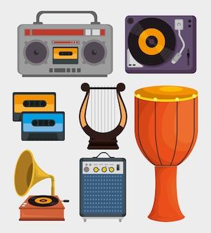 Набор значков музыкальных инструментов