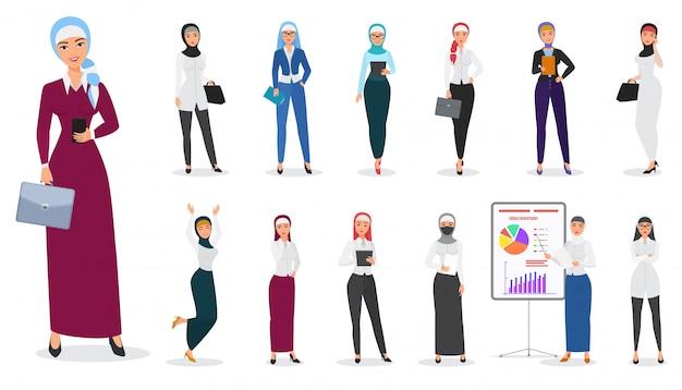 Set of muslim arabian business woman character poses.