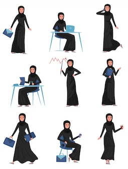 Set of muslim business woman in different actions. work at office. young cute girl in long black dress and hijab
