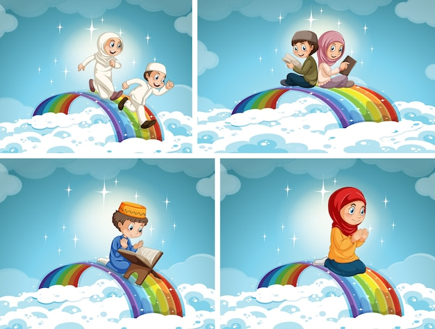 Set of muslim couple kid on rainbow in the sky