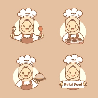 Set of muslim cute woman chef with hijab holding cake, cookies, and kitchen tools. halal homemade logo template vector