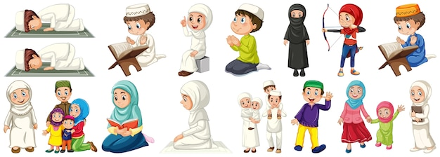 Set of muslim kids character