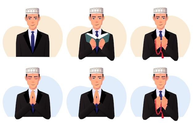 Set of muslim man wearing a black suit and taqiyah hat