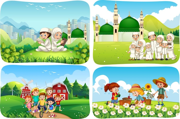 Set of muslim people cartoon character in different scene
