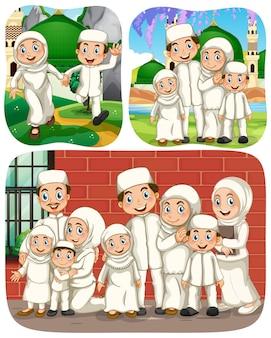 Set di personaggi dei cartoni animati musulmani in diverse scene Vettore gratuito
