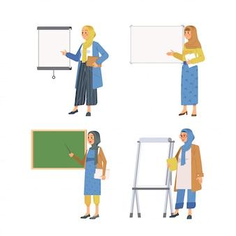 Set of muslim women presenting her presentation on board  illustration