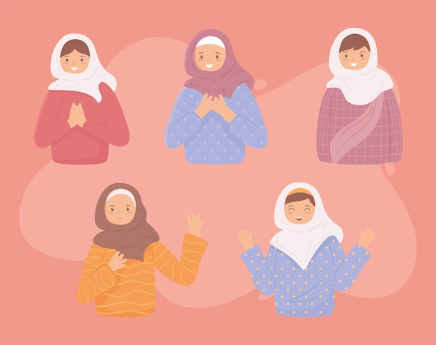 Set of muslim women
