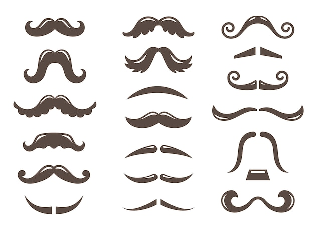 Set of mustache icons
